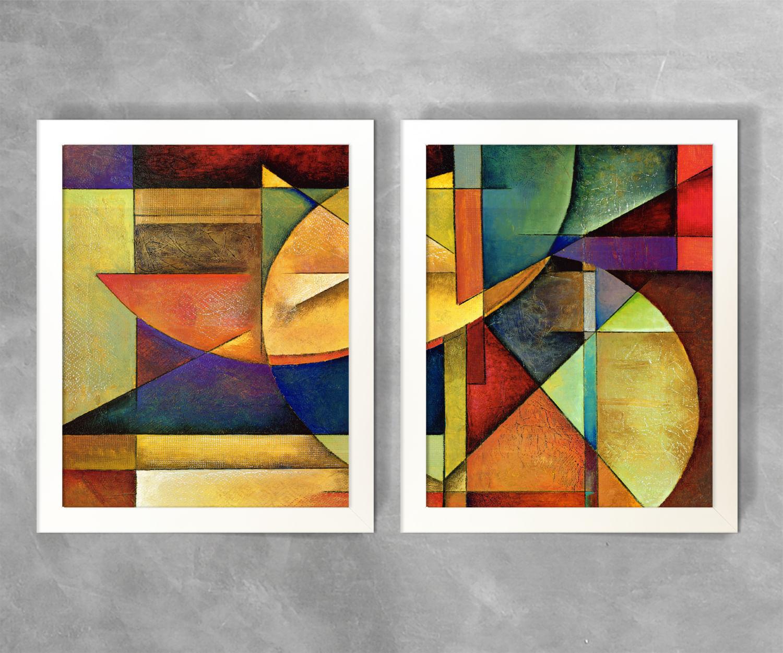 Conjunto De Quadros Abstratos Geom Trico Colorido 2 Rei Dos Quadros -> Quadro Abstrato Pra Sala Barato