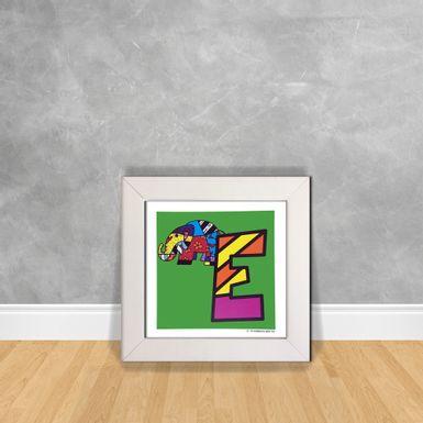 Quadro-Decorativo-Romero-Britto-Letra-E