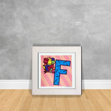 Quadro-Decorativo-Romero-Britto-Letra-F