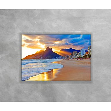 Gravura-Decorativa-Rio-de-Janeiro-Praia-Sol-se-Pondo