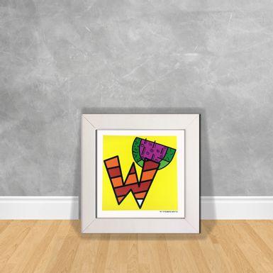 Quadro-Decorativo-Romero-Britto-Letra-W