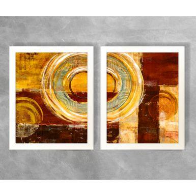 Conjunto-de-Quadros-Abstratos-Circulos-e-Semicirculos-Tons-de-Vermelho
