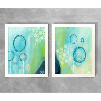 Conjunto-de-Quadros-Abstratos-Linhas-de-Circulos-Tons-de-Azul