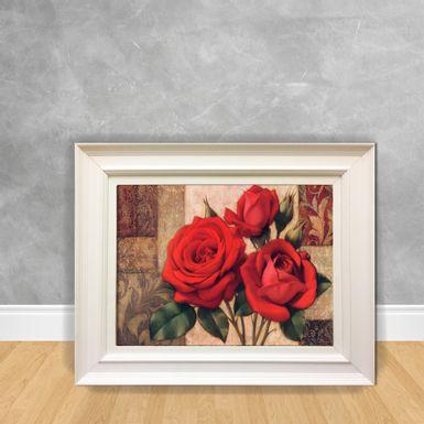Quadro-Decorativo-Canvas-Flor-Rosa-Vermelha-e-Dourada