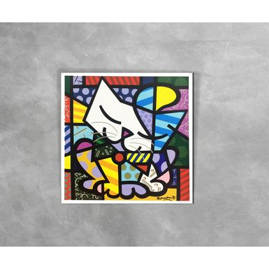 Gravura-Decorativa-Romero-Britto-Blue-Cat