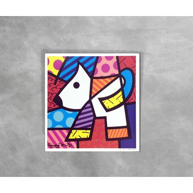 Gravura-Decorativa-Romero-Britto-White-Dog