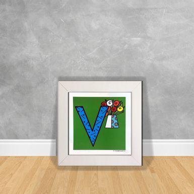 Quadro-Decorativo-Romero-Britto-Letra-V