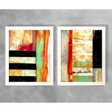 Conjunto-de-Quadros-Abstratos-Tons-de-Preto-e-Laranja