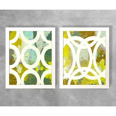 Conjunto-de-Quadros-Abstratos-Circulos-e-Semicirculos-Brancos-e-Tons-Verde
