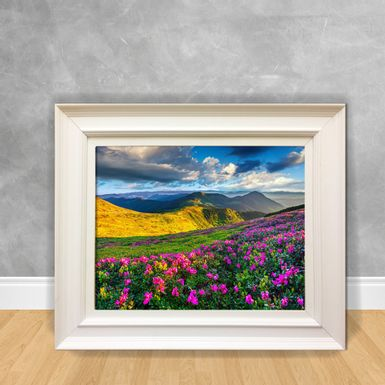 Quadro-Decorativo-Canvas-Montanha-com-Flores-Lilas