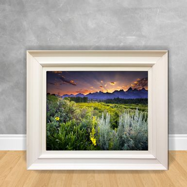 Quadro-Decorativo-Canvas-Sol-Nascendo-Atras-das-Montanhas