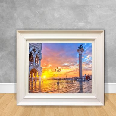Quadro-Decorativo-Canvas-Praca-com-Sol-se-Pondo