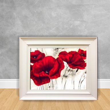 Quadro-Decorativo-Canvas-Flor-Vermelho-e-Branco