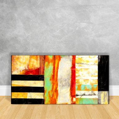 Quadro-em-Vidro---Abstrato-Tons-de-Preto-e-Laranja