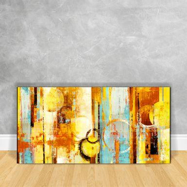 Quadro---Impressao-em-Vidro---Abstrato-Circulos-e-Listras-Tons-de-Amarelo-e-Azul