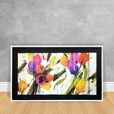 Quadro Decorativo em Tiras - Abstrato Tulipa