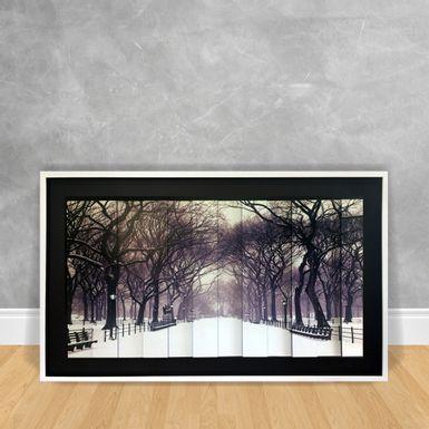 Quadro-Decorativo-Estilo-3D---Floresta-Com-Neve-Caindo-