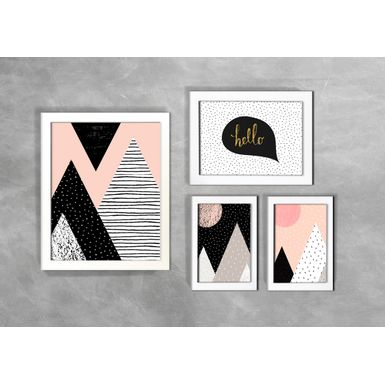 Kit-de-4-Quadros-Escandinavos-Abstratos-Hello-