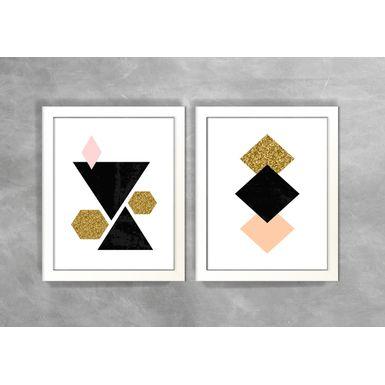 Conjunto-de-Dois-Quadros-Abstratos-Escandinavos-Geometricos-Triangulos-e-Losangos