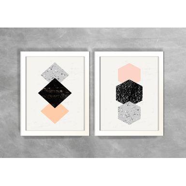 Conjunto-de-Dois-Quadros-Abstratos-Escandinavos-Geometricos-Losangos-e-Hexagonos