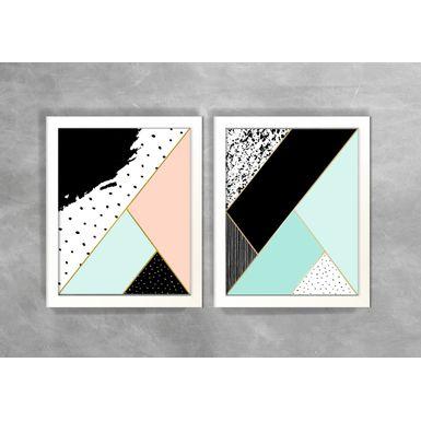 Conjunto-de-Dois-Quadros-Abstratos-Escandinavos-Geometricos-Triangulos-e-Linhas