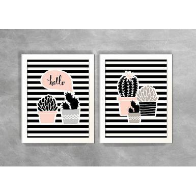 Conjunto-de-Dois-Quadros-Abstratos-Escandinavos-Hello-Cactos