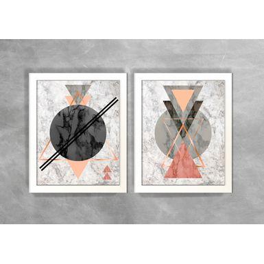 Conjunto-de-Dois-Quadros-Abstratos-Escandinavos-Geometricos-Circulos-e-Triangulos