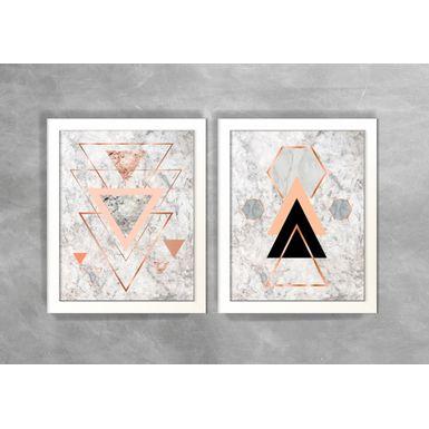 Conjunto-de-Dois-Quadros-Abstratos-Escandinavos-Geometricos-Triangulos-e-Hexagonos