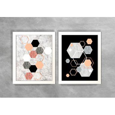 Conjunto-de-Dois-Quadros-Abstratos-Escandinavos-Geometricos-Hexagonos