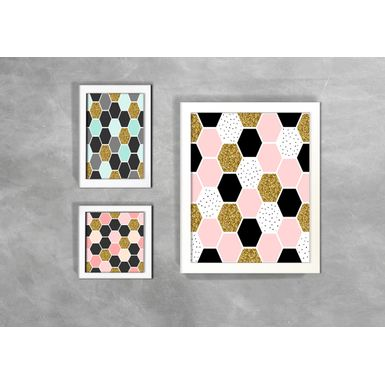 Kit-de-3-Quadros-Escandinavos-Abstratos-Hexagono-