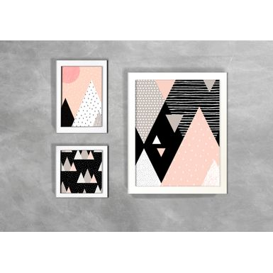 Kit-de-3-Quadros-Escandinavos-Abstratos-Triangulos-Coloridos-