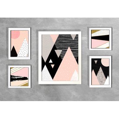 Kit-de-5-Quadros-Escandinavos-Formas-Geometricas-