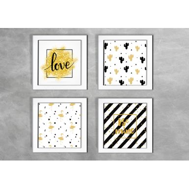 Kit-de-4-Quadros-Escandinavos-Love-Be-Mine-