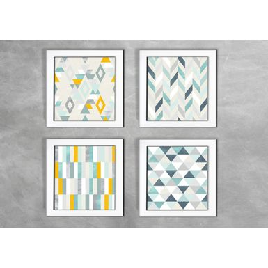 Kit-de-4-Quadros-Escandinavos-Triangulos-e-Abstratos-