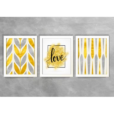 Kit-de-3-Quadros-Escandinavos-Love-Yellow-