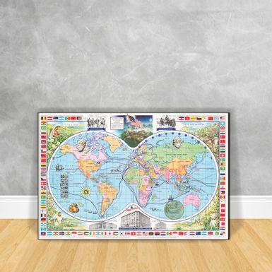 Quadro-Impressao-em-Vidro---Ancient-Mapa-Of-The-World-