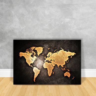 Quadro-Impressao-em-Vidro-Mapa---Black-World-Map-
