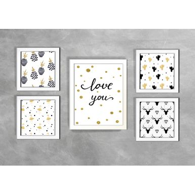Kit-de-5-Quadros-Love-you-e-Abacaxi-