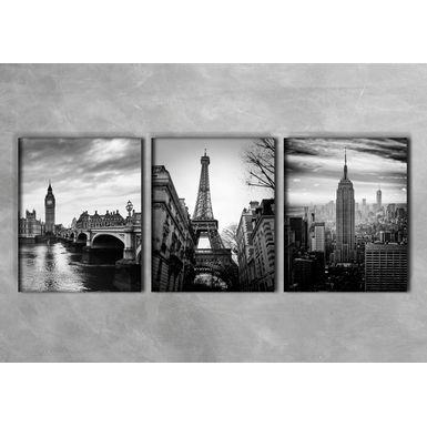 Quadro-Impressao-em-Vidro---Torre-Eiffel-Preto-e-Branco