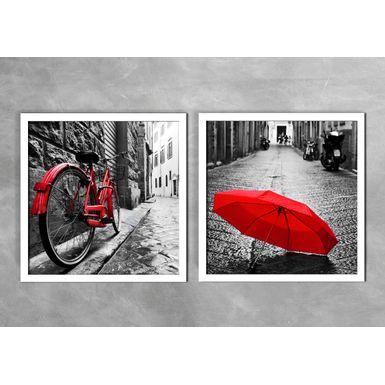 Quadro-Decorativo-Bicicleta-e-Guarda-Chuva-Vermelho-