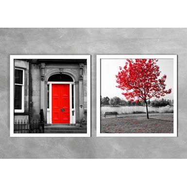Quadro-Decorativo-Porta-Vermelha-e-Arvore-Vermelha-