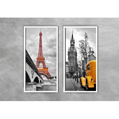 Quadro-Decorativo-Torre-Eiffel-e-Fusca-Amarelos-