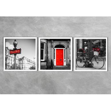 Quadro-Decorativo-Metro-Bike-e-Porta-Vermelha-Preta-
