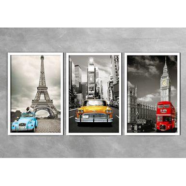 Quadro-Decorativo-Fusca-Azul-Taxi-e-Onibus-Vermelho