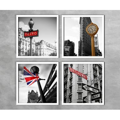 Kit-de-4-Quadros-Metro-Broadway-England-