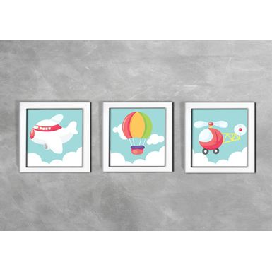 Quadro-Decorativo-Infantil-Transportes-Aereos-
