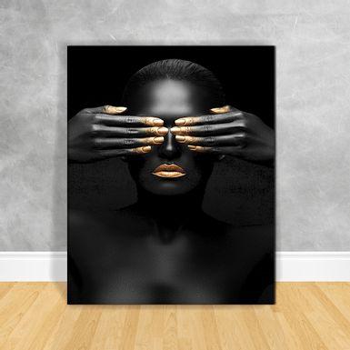 Quadro-Impressao-em-Vidro---Black-Woman-Olhos-Fechados