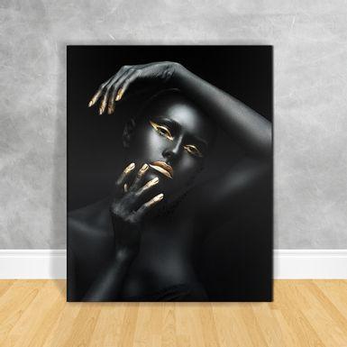 Quadro-Impressao-em-Vidro---Black-Woman-Cabeca-de-Lado