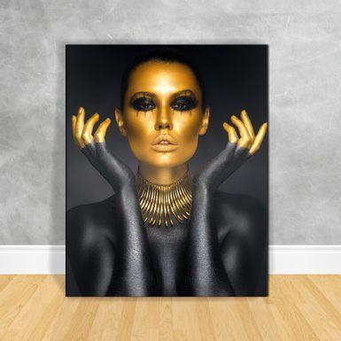 Quadro-Impressao-em-Vidro---Black-Woman-Rosto-Gold
