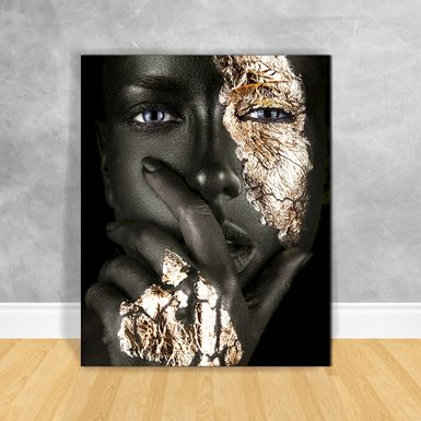 Quadro-Impressao-em-Vidro---Black-Woman-Preto-e-Gold